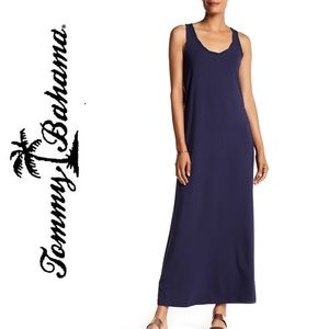 TOMMY BAHAMA Solid black racerback maxi dress